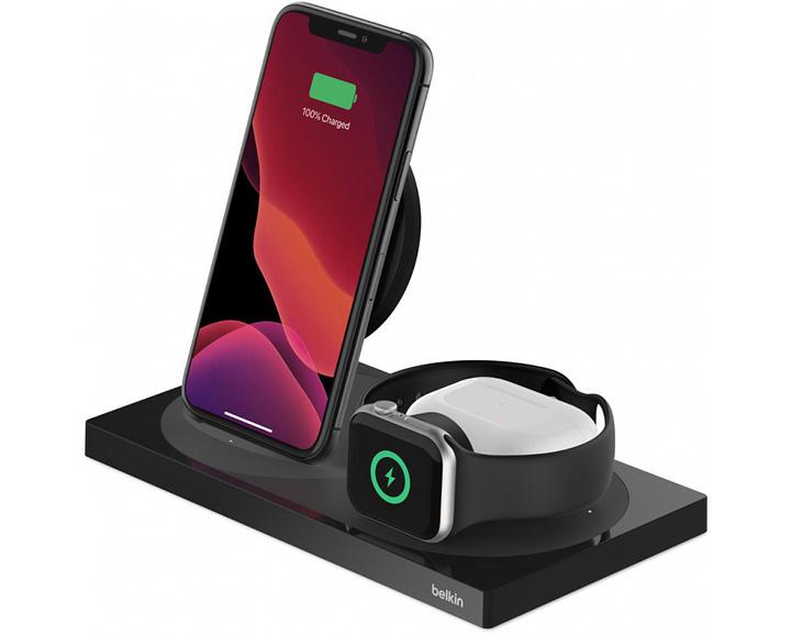 Беспроводная зарядная станция Belkin BOOST CHARGE 3-в-1 iPhone + Apple Watch + AirPods Black