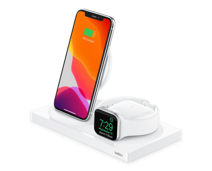 Беспроводная зарядная станция Belkin BOOST CHARGE 3-в-1 iPhone + Apple Watch + AirPods White