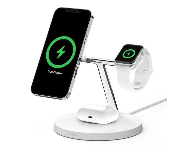 Беспроводная зарядная станция Belkin BOOST CHARGE PRO 3-в-1 iPhone + Apple Watch + AirPods MagSafe White